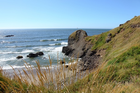 Oregon coast pacific northwest cliffs & beaches.  Stock Photo