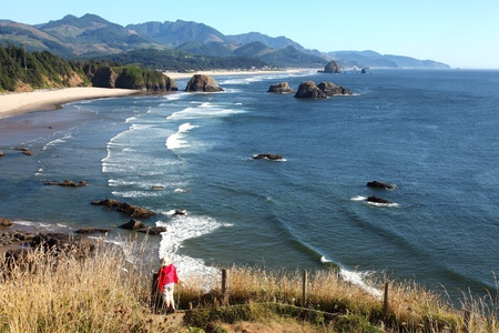 Oregon coast pacific northwest cliffs beaches.  photo