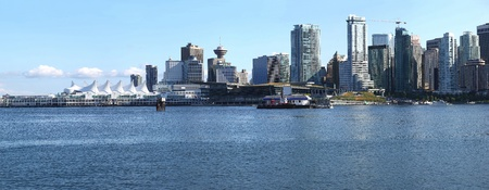 A skyline panorama view of Vancouver BC waterfront from Stanley park.