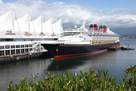 Cruise ship moored at Canada place in Vancouver BC Canada.