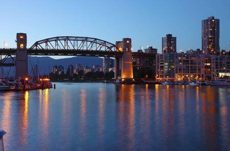 canadian pacific: The Burrard bridge in Granville island Vancouver BC Canada at dusk.