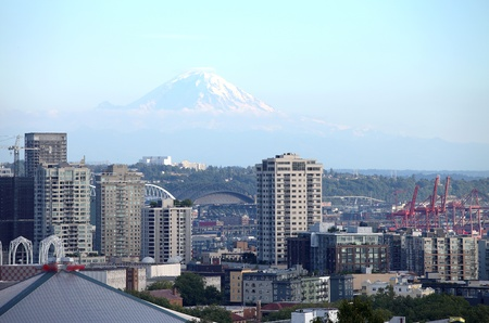 high rises: Mt. Rainier & dwellings high rises Seattle WA.