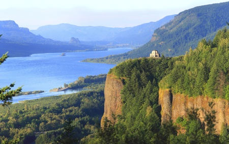 vista: Crown point, Columbia River Gorge Oregon.  Stock Photo