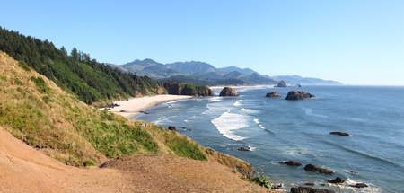 Oregon coasline panorama near Cannon beach OR. photo