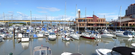 A marina panorama, Oak st bridge (Hwy-99) & River Rock casino in Richmond BC, Canada.