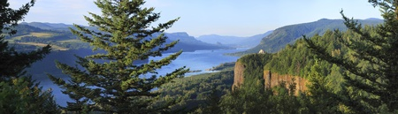 A panoramic view of the Columbia River Gorge & Crown point from the women
