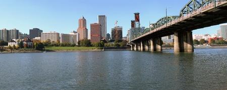sidelight: Portland Oregon skyline panorama & the Hawthorne bridge. Stock Photo
