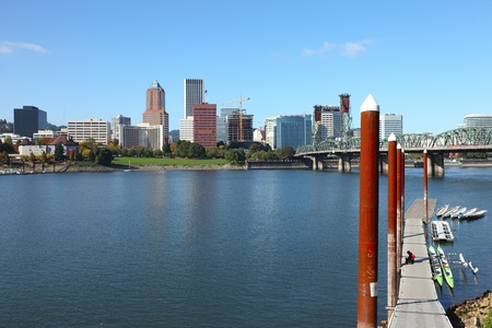 Portland Oregon skyline & the Hawthorne bridge. photo