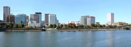 Portland Oregon skyline panorama & the Willamette river. photo