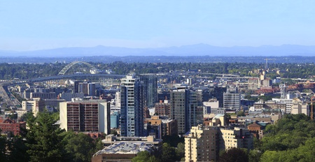 Panorama of new High rise construction near the Fremont bridge, Portland Oregon.