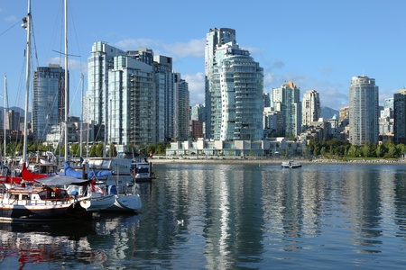 Vancouver BC.,skyline at False Creek and moored sailboats.