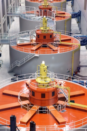 source: Power house panorama, Bonneville dam electrical turbines generators OR.