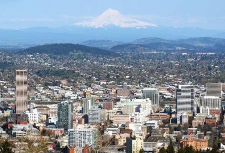 Portland Oregon panorama from Pittok Mansion. photo