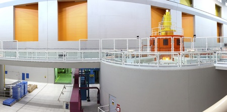 energy work: A panoramic interior of a power plant.
