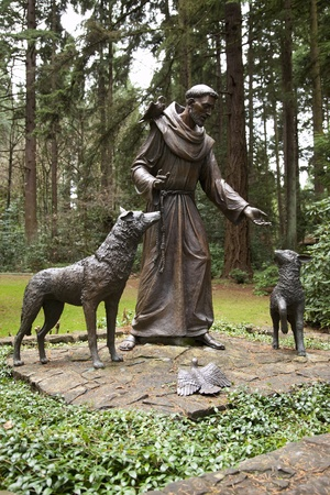 virtue: Statue of St. Francis of Assisi in the Grotto park, Portland Oregon.