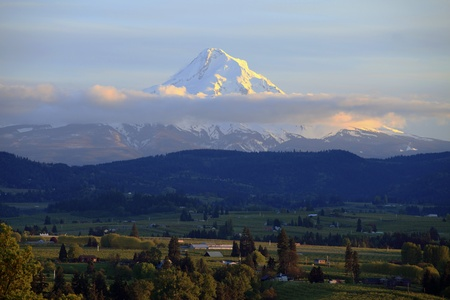 Mt. Hood and Hood River valley at sunset, Oregon.