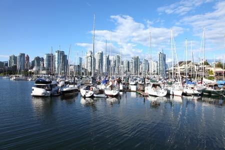 Vancouver BC waterfront False creek bay and sailboats dotting the landscape.