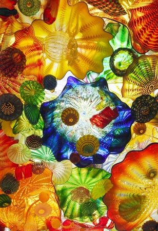 Glass art on a pedestrian ceiling in Tacoma Washington