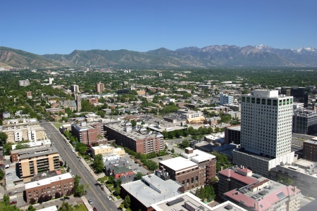 East Salt Lake city, city view and surrounding mountains Utah