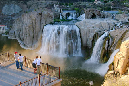 idaho state: People watching the falls in Idaho state  Editorial