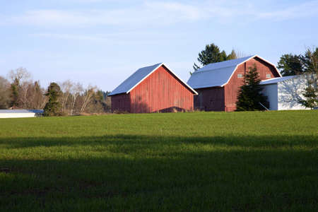 Barns and field in rural areas around Portland OR