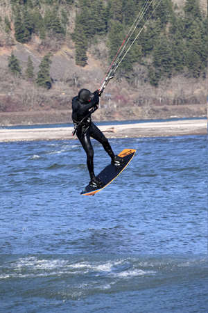 thrill: Wind surfers enjoying the pull, Columbia River Gorge OR
