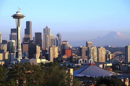 rainier: The Seattle skyline at sunset, WA state