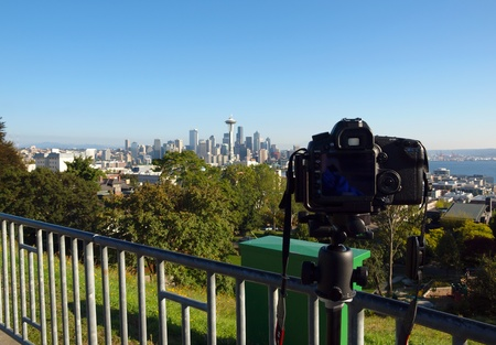 Photographing the Seattle skyline from Kerry park  photo
