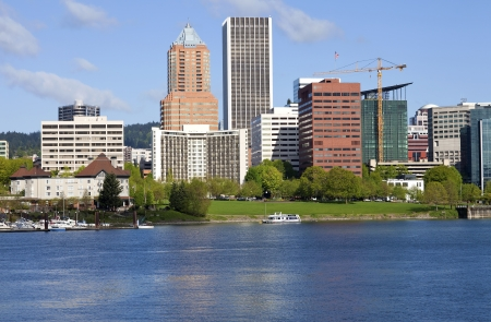 bridge construction: City of Portland Oregon skyline in Spring  Editorial