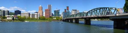 Portland Oregon skyline and bridge panorama