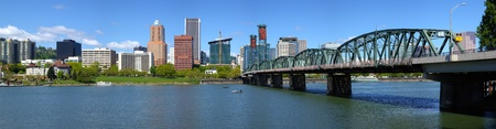 Portland Oregon skyline and bridge panorama  Stock Photo - 13602087