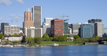 City of Portland Oregon skyline in Spring  photo