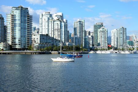 high rises: Vancouver BC high rises and False Creek river Canada  Stock Photo