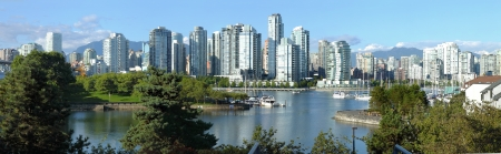 Vancouver BC skyline at False Creek river, Canada