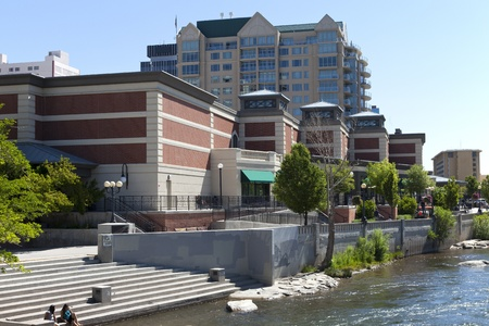 Downtown Reno architecture and river   Stock Photo - 14148511