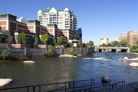 Downtown Reno architecture and river