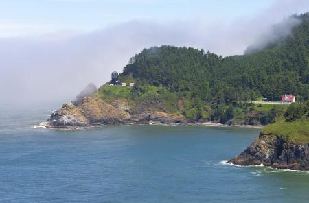 Hacenta lighthouse under restoration, Oregon coast  photo