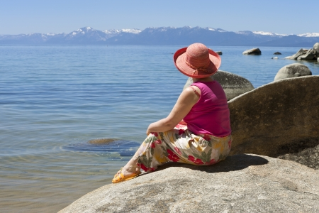Visiting lake Tahoe in California and Nevada states  Stock Photo