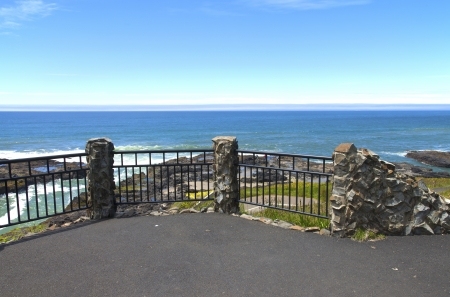 Cape Perpetua lookout platform over the lava rocks, Oregon coast  photo