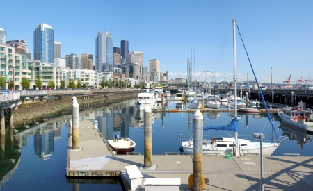 Pier 66 marina and the Seattle skyline panorama