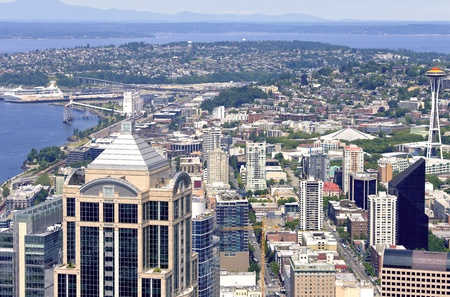 Sky-view Seattle from the Columbia Center tower, 73rd fl