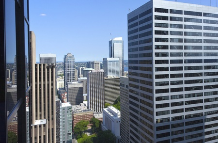 Looking through glass windows between high rises, Seattle WA Stock Photo - 14480372