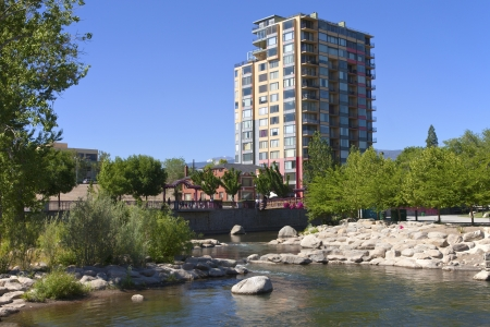 Modern apartment building near the river downtown Reno NV  photo