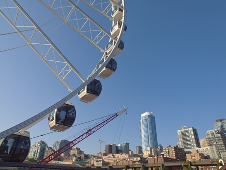 Ferris wheel and Seattle skyline near the waterfront