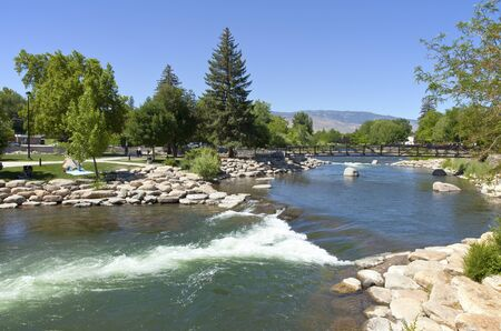 Downtown Reno public park and river with surrounding mountains