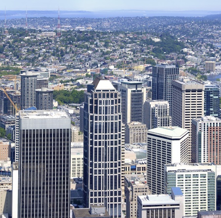 Seattle city center seen from the Columbia center tower sky view  photo