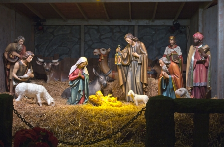 The Nativity scene at the Grotto in Portland OR. Stock Photo - 16837540