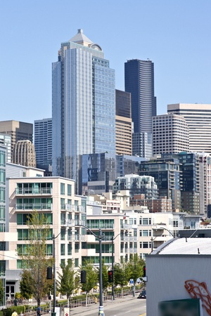 Seattle skyline architecture and city blocks. Editorial