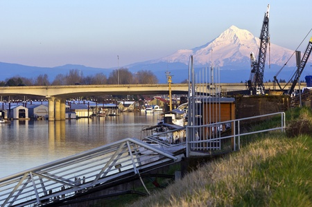northwest: Mt  Hood and urban surroundings on a river Portland OR