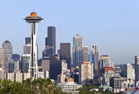 exploratory: Seattle skyline buildings architecture WA state. Editorial